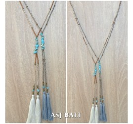 double tassels necklaces pendant with stone beaded fashion design