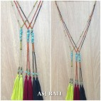 double tassels necklaces pendant with stone beads turquoise fashion design