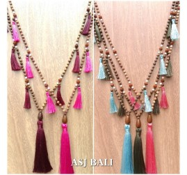 ethnic design necklaces tassels wooden natural beads layer 5color