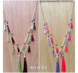 ethnic tassels design wooden beads necklace organic 4color