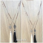 exclusive bronze ceramic beads long strand tassels pendant charm