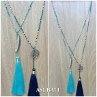 exclusive bronze ceramic beads long tassels charm necklaces fashion