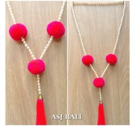full fresh water pearls necklaces tassels with cotton triple ball