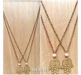 hamsa buddha pendant necklaces bead fashion accessories 2color