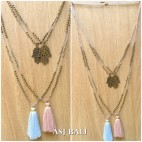 hamsa buddha pendant necklaces bead with tassels 2color fashion