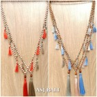 handmade tassel necklace ethnic design wood organic beads 5color