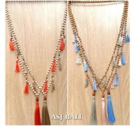 handmade tassel necklace ethnic design wood organic beads 5color