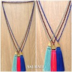 long strand beads crystal necklaces tassels king caps 3color