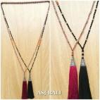 mix beads pendant tassels silver bronze caps fashion necklaces 2color