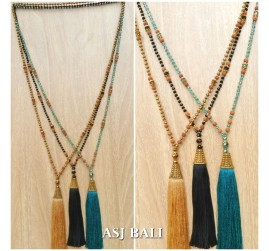 mix beads pendant tassels golden caps fashion necklaces 3color