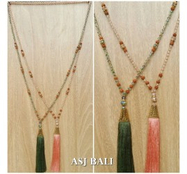 mix beads pendant tassels golden king caps fashion necklaces 2color