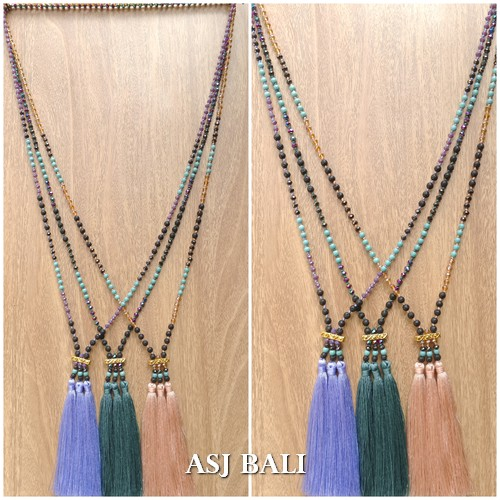 mix stone bead strand triple tassels pendant necklaces indian style