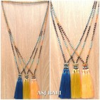 mix stone beaded strand triple tassel pendant necklaces indian design