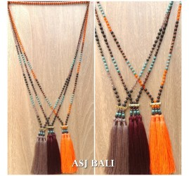 mix stone bead strand triple tassels necklaces indian design
