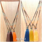 mix stone beaded strand triple tassels pendant necklaces indian style