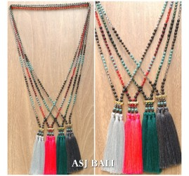 mix stone beads indian triple tassels pendant necklaces design 3color