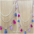 multi tassels necklaces beads triple layers fashion accessories