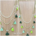 multi tassels necklaces beads triple strand fashion accessories