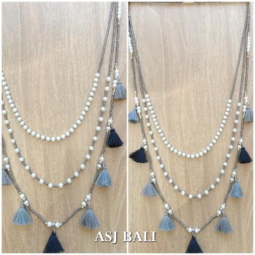 multi tassels necklaces beads triple strand fashion jewelry design