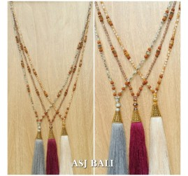 multiple beads necklaces tassels pendant golden caps 3color