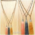 multiple beads necklaces tassels pendant silver bronze caps