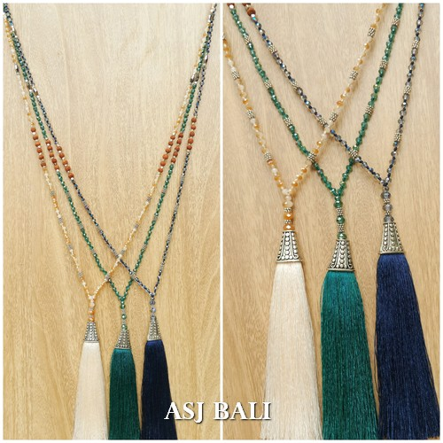 multiple beads long strand necklaces tassels pendant silver caps 3color