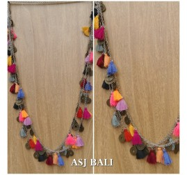multiple tassels necklaces chains coin fashion women accessories
