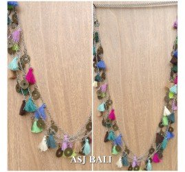 multiple tassels necklaces chains fashion women accessories bali designer