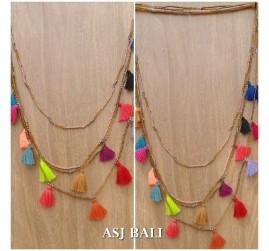 multiple tassels necklaces pendant beads fashion women accessories 2color