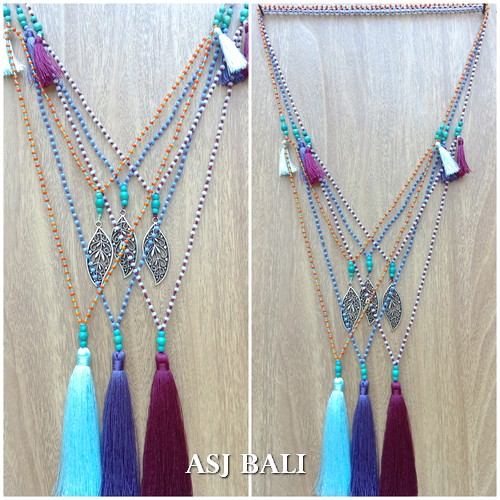 necklace tassel pendant charm stone beads fashion accessories 3color
