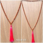 organic rudraksha mala wood bead mono layer tassels necklaces bali