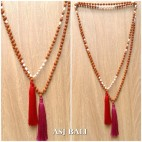 organic rudraksha mala wood fresh pearls bead tassels necklaces 2color