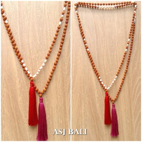 organic rudraksha mala wood fresh pearls bead tassels necklaces 2color