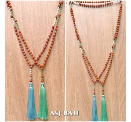 organic rudraksha wood fresh pearls bead tassels necklaces pendant 2color
