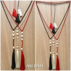 original fresh water pearls crystal bead triple tassels necklaces fashion