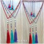 original fresh water pearls crystal beaded triple tassels necklaces fashion