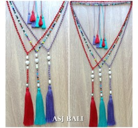 original fresh water pearls crystal beaded triple tassels necklaces fashion