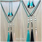 original fresh water pearls crystal beading triple tassels necklaces fashion