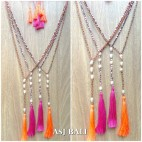 fresh water pearls crystal beads triple tassels necklaces fashion 2color