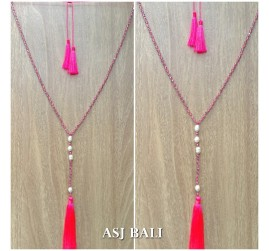 fresh water pearls crystal beads triple tassels necklaces fashion handmade