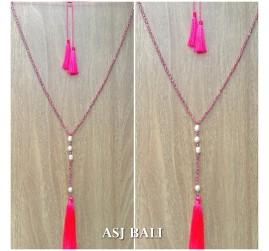 fresh water pearls crystal beads triple tassels necklaces fashion handmade