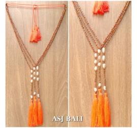 original water pearls with crystal triple tassels necklace fashion design
