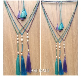 original fresh water pearls with crystal beaded triple tassels