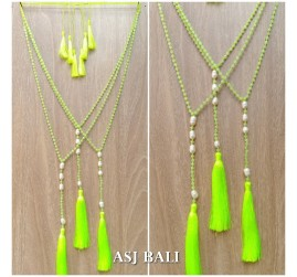 original fresh water pearls with crystal beads triple tassels necklaces fashion