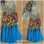 stone beads mix color single strand fashion tassels necklace