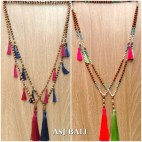 unique tassels design wooden beads necklace organic 4color