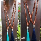 brown wooden bead necklaces tassels budha head chrome 2color