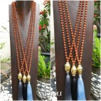 budha heads prayer bronze large necklace tassels pendant mala bead bali