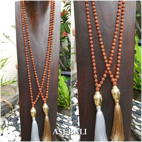 budha prayer bronze tassels pendant necklace mala organic bead 2color