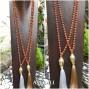 budha prayer bronze tassels pendant necklace mala organic bead 2color